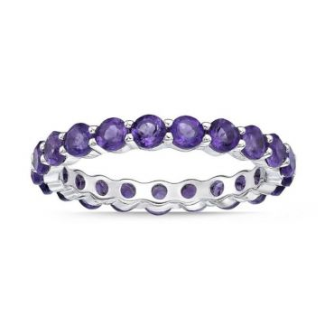 La Masters Couture SIZE 7 Sterling Silver 3mm Round Amethyst Eternity Band