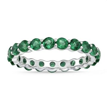La Masters Couture SIZE 7 Sterling Silvers 3mm Round Created Emerald Eternity Band
