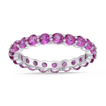 La Masters Couture SIZE 7 Sterling Silver 3mm Round Created Pink Sapphire Eternity Band