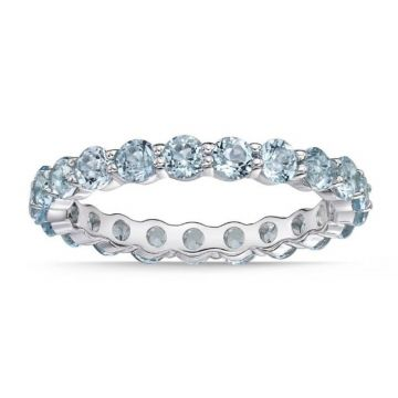 La Masters Couture SIZE 7 Sterling Silver 3mm Round Blue Topaz Eternity Band