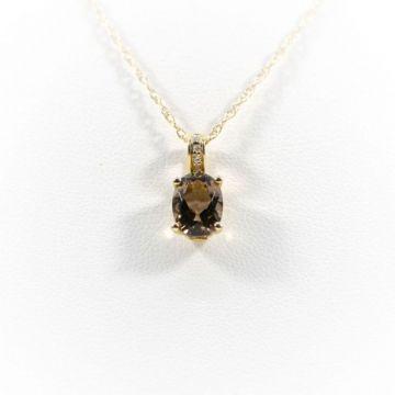 La Masters Couture 14 KT Gold Oval Smokey Quartz Pendant W/ Diamond Set Bale
