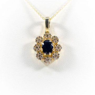 La Masters Couture 14 KT Gold Oval Natural Sapphire Pendant W/ Floral Diamond Halo
