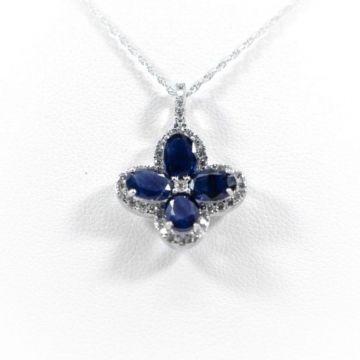 La Masters Couture 14 KT White Gold Sapphire Clover Pendant W/ Diamond Halo