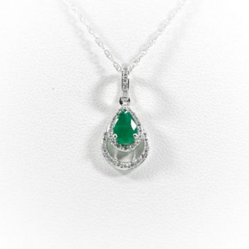 La Masters Couture 14 KT White Gold Teardrop Emerald Pendant W/ Teardrop Shaped Diamond Halo