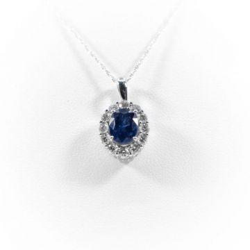 La Masters Couture 14 KT White Gold Oval Sapphire Pendant W/ Diamond Halo