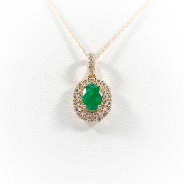 La Masters Couture 14 KT Rose Gold Oval Emerald Pendant W/ Oval Diamond Halo