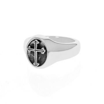King Baby Sterling Silver Traditional Cross Motif Ring