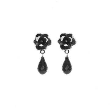 King Baby Sterling Silver Black Magnolia Flower Stud Earrlings with Black Spinel Teardrop