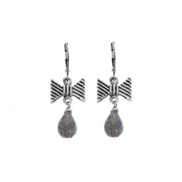 King Baby Sterling Silver Bow Leaverback Earrings with Labradorite Tear Drop Beads