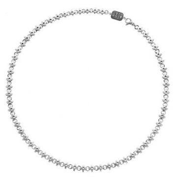 King Baby Sterling Silver Diamond Link Necklace