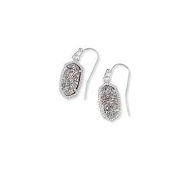 Kendra Scott Lee Silver Drop Earrings in Platinum Drusy