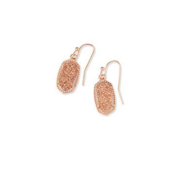Kendra Scott Lee Rose Gold Drop Earrings in Rose Gold Drusy
