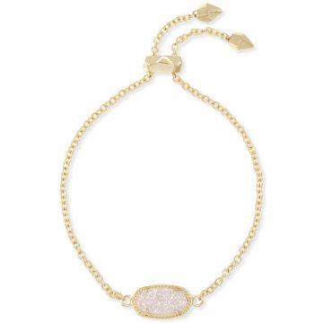 Kendra Scott Elaina Gold Adjustable Chain Bracelet in Iridescent Drusy