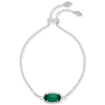 Kendra Scott Elaina Silver Adjustable Chain Bracelet in Emerald Cats Eye
