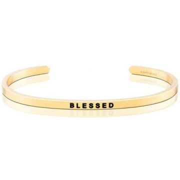 MantraBand Yellow Gold Blessed Cuff Bracelet
