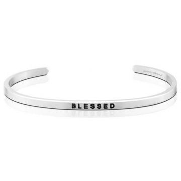 MantraBand Silver Blessed Cuff Bracelet
