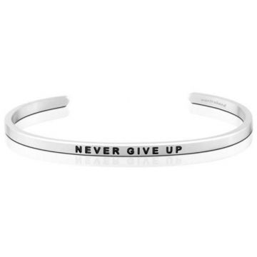 MantraBand Silver Never Give Up Cuff Bracelet