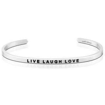MantraBand Silver Live Laugh Love Cuff Bracelet
