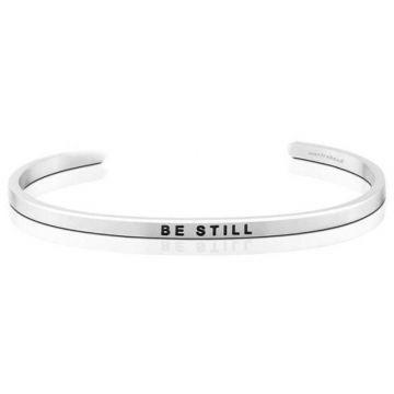 MantraBand Silver Be Still Cuff Bracelet