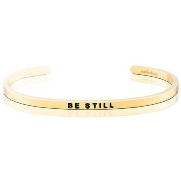 MantraBand Yellow Gold Be Still Cuff Bracelet