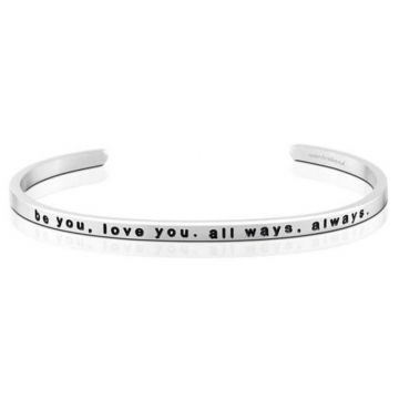 MantraBand Silver Be You Love You All Ways Always Cuff Bracelet