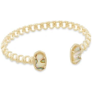 Kendra Scott 14 KT Gold Plated Elton Cuff Bracelet in Nude Abalone