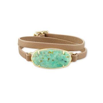 Kendra Scott 14 KT Gold Plated Elle Wrap Bracelet in Sea Green Chrysocolla W/ Beige Leather Strap