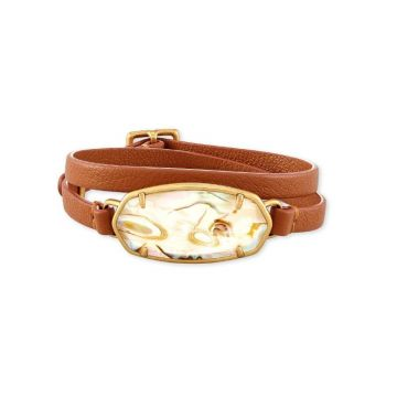 Kendra Scott 14 KT Gold Plated Elle Wrap Bracelet in White Abalone W/ Brown Leather Strap
