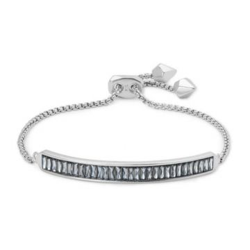 Kendra Scott Rhodium Plated Jack Adjustable Chain Bracelet W/ Charcol Gray Baguette Crystal Accents