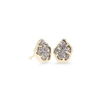 Kendra Scott 14 KT Gold Plated Tessa Stud Earrings in Platinum Drusy