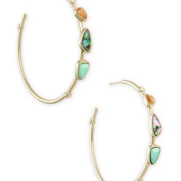 Kendra Scott 14 KT Gold Plated Ivy Hoop Earrings in Sea Green Mix