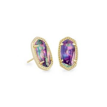 Kendra Scott 14 KT Gold Ellie Stud Earrings in Lilac Abalone