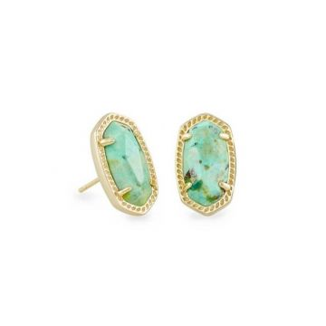 Kendra Scott 14 KT Gold Plated Ellie Stud Earrings in Sea Green Chrysocolla