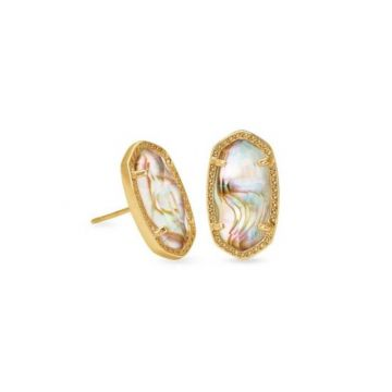 Kendra Scott 14 KT Antique Yellow Gold Ellie Stud Earrings in White Abalone