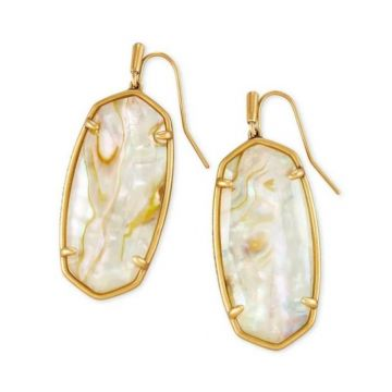 Kendra Scott 14 KT Antique Yellow Gold Faceted Elle Drop Earrings in White Abalone