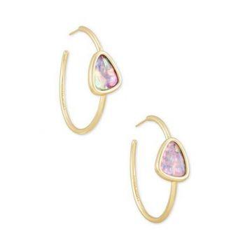 Kendra Scott 14 KT Gold Plated Margot Hoop Earrings in Lilac Abalone