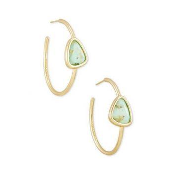 Kendra Scott 14 KT Gold Plated Margot Hoop Earrings in Sea Green Chrysocolla