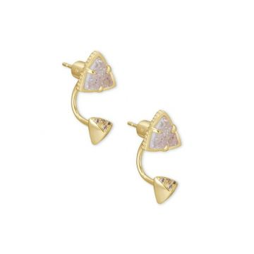 Kendra Scott 14 KT Gold Plated Perry Jacket and Stud Earrings in Iridescent Drusy