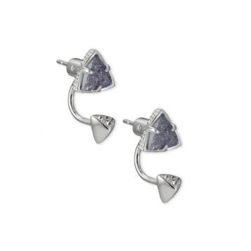 Kendra Scott Rhodium Plated Perry Jacket and Stud Earrings in Steel Gray Drusy