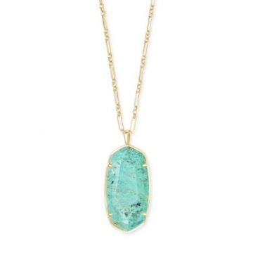Kendra Scott 14 KT Gold Plated Faceted Reid Long Pendant Necklace in Sea Green Chrysocolla