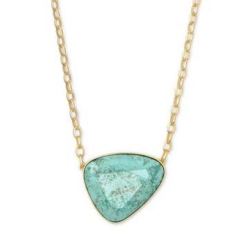 Kendra Scott 14 KT Gold McKenna Pendant Necklace in Sea Green Chrysocolla