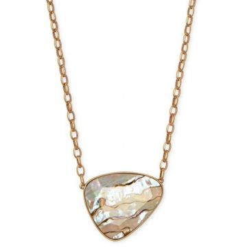 Kendra Scott 14 KT Vintage Yellow Gold Plated McKenna Pendant Necklace in White Abalone
