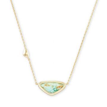 Kendra Scott 14 KT Gold Plated Margot Short Pendant Necklace in Sea Green Chrysocolla