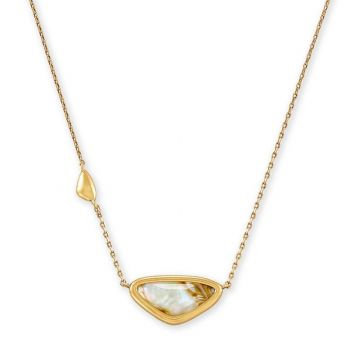 Kendra Scott 14 KT Vintage Yellow Gold Plated Margot Short Pendant Necklace in White Abalone