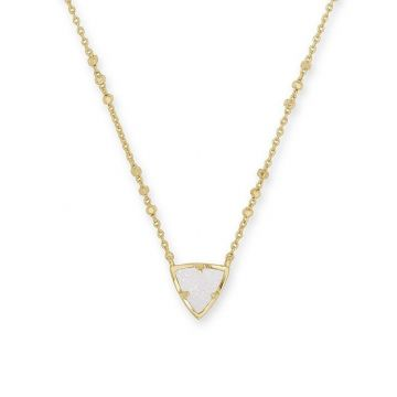 Kendra Scott 14 KT Gold Plated Perry Pendant Necklace in Iridescent Drusy