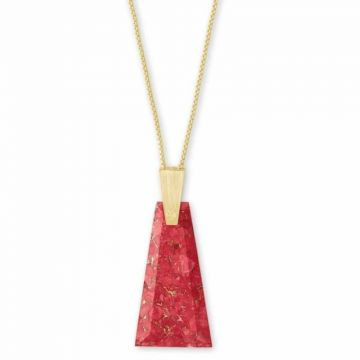Kendra Scott Gold Bronze Collins Long Pendant Necklace in Red Magma