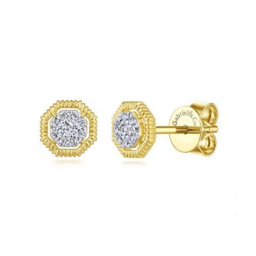 Gabriel & Co. 14k Yellow Gold Contemporary Diamond Stud Earrings