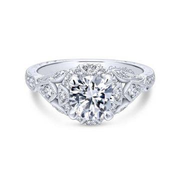 Gabriel & Co. 14k White Gold Victorian Vintage Engagement Ring