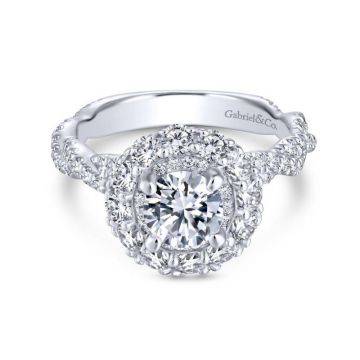 Gabriel & Co. 14k White Gold Embrace Double Halo Engagement Ring
