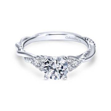 Gabriel & Co. 14k White Gold Hampton Twisted Engagement Ring